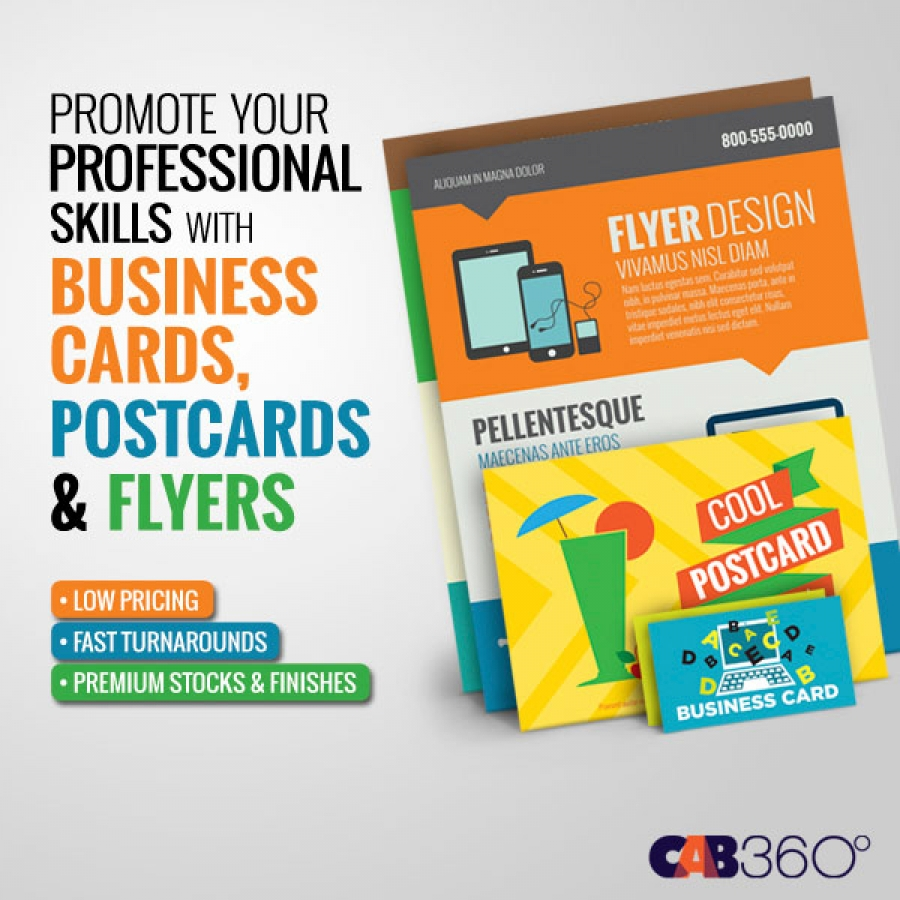 Business Cards, Postcards & Flyers - | CAB360 Miami & Fort ...